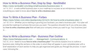 How to Write a Business Plan SERP